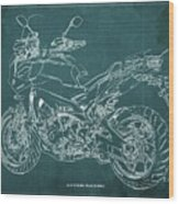 2018 Yamaha Tracer 900gt Blueprint Green Background Wood Print