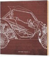 2018 Yamaha Wolverine X4 Blueprint Red Background Gift For Him Wood Print