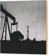 2018_08_malaga Nm_cactus 153 Pump Jack Wood Print