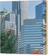 Charlotte North Carolina Cityscape During Autumn Season Wood Print