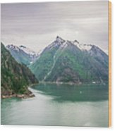 Glacier And Mountains Landscapes In Wild And Beautiful Alaska Wood Print