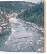 Kootenai River Water Falls In Montana Mountains Wood Print