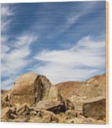 Rocks, Mountains And Sky At Alabama Hills, The Mobius Arch Loop  Wood Print