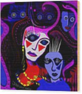 215   Mother And Child  Clowns A  Wood Print