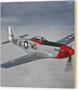 A P-51d Mustang In Flight Wood Print