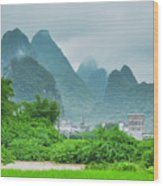 Karst Mountains Rural Scenery Wood Print
