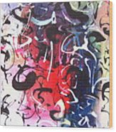 Abstract Calligraphy Wood Print