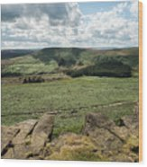 Beautiful Vibrant Landscape Image Of Burbage Edge And Rocks In S Wood Print