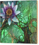 Jeweled Water Lilies Wood Print