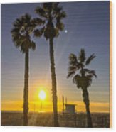 Sunset In Santa Monica, California, Usa Wood Print