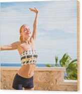 Beautiful Woman Practicing Yoga Wood Print