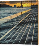 25 De Abril Bridge In Lisbon. Wood Print