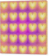 25 Little Yellow Love Hearts Wood Print