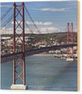 25th Of April Suspension Bridge In Lisbon Wood Print