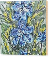 Digital Flower Painting Wood Print