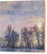 Frozen Water, Snow And Ice On The Dnieper River Wood Print