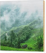 Mountain Scenery In The Mist Wood Print