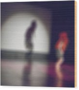 Contemporary Dance Performance Bokeh Blur Background Wood Print