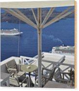 28 September 2016 Restaurant By The Aegean Sea  In Santorini, Greece  Wood Print