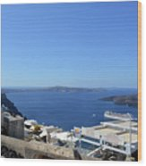 28 September 2016 White Houses By The Sea In Santorini, Greece  Wood Print