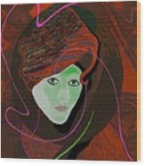 289 - Anna  With  Dark Red Cap Wood Print