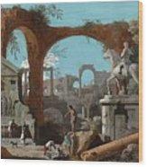 A Capriccio Of Roman Ruins Wood Print