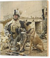 A Dog Handler And His Military Working Wood Print