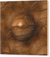 Abstract Brown Globe Wood Print