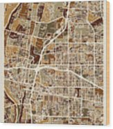 Albuquerque New Mexico City Street Map Wood Print