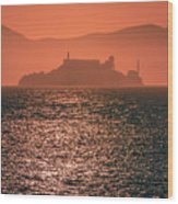 Alcatraz Island Prison San Francisco Bay At Sunset Wood Print