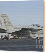 An Fa-18f Super Hornet Ready To Launch Wood Print