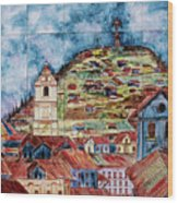 Artisan Market In Quito Wood Print