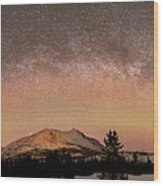 Aurora Borealis And Milky Way Wood Print