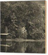 Autumn Lake Boathouse Wood Print