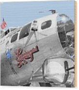 B-17g Flying Fortress Sentimental Journey 2 Avra Valley Arizona 1991 Color Added 2008 Wood Print
