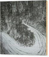 Bad Road Conditions While Driving In Winter Wood Print