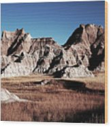 Badlands At Sunset Wood Print