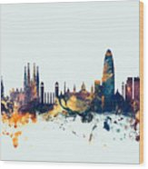 Barcelona Spain Skyline Wood Print