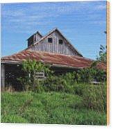 Barn In The Blue Sky Wood Print