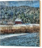 Vermont Farm By The River Wood Print