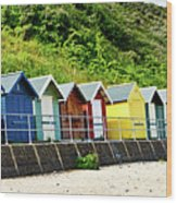 Beach Huts Wood Print