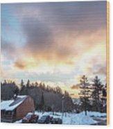 Beautiful Sunrise Over Horizon On Snowshoe Mountain West Virgini Wood Print