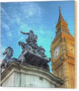 Big Ben And Boadicea Statue  Wood Print