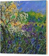 Blue Cornflowers  Wood Print