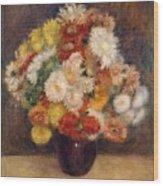 Bouquet Of Chrysanthemums Wood Print