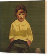 Boy With Baseball Wood Print