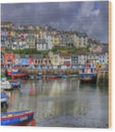 Brixham Harbour Wood Print