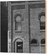 Burlington North Carolina - Arches And Alley Bw Wood Print