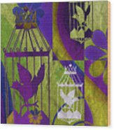 3 Caged Birds Wood Print