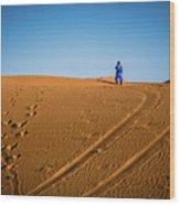 Tracks In The Sahara Wood Print